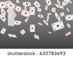 playing cards aces falling on a