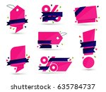 set of pink colored stickers... | Shutterstock . vector #635784737