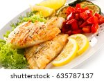 fried fish cod with vegetables... | Shutterstock . vector #635787137