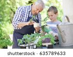 grandfather with grandson... | Shutterstock . vector #635789633