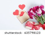 a bouquet of pink tulips in a... | Shutterstock . vector #635798123
