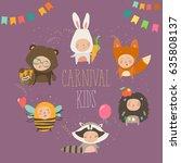 set of cute kids wearing animal ...   Shutterstock .eps vector #635808137