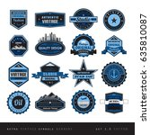 blue vintage retro labels black ... | Shutterstock .eps vector #635810087