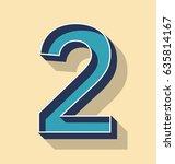 3d letter 2 retro vector text... | Shutterstock .eps vector #635814167