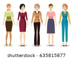 woman dress code vector... | Shutterstock .eps vector #635815877