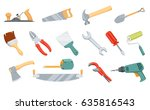 repair tool. sawing saw  hammer ... | Shutterstock .eps vector #635816543