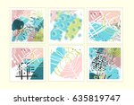 universal floral posters set.... | Shutterstock . vector #635819747