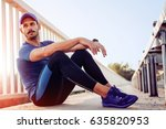 young male jogger athlete... | Shutterstock . vector #635820953
