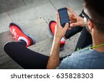 man relaxing after jogging.he... | Shutterstock . vector #635828303