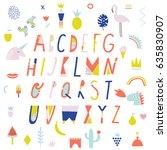 cute english alphabet | Shutterstock .eps vector #635830907