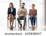 three business people sitting... | Shutterstock . vector #635838047