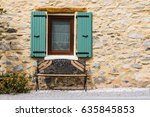 rustic stone house wall with... | Shutterstock . vector #635845853