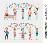 social media people set. vector ... | Shutterstock .eps vector #635850377