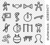 training icons set. set of 16