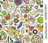 cartoon cute hand drawn food... | Shutterstock .eps vector #635857097