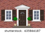 brick house facade with front... | Shutterstock .eps vector #635866187