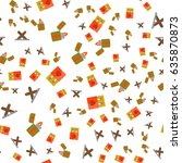 seamless pattern of camping... | Shutterstock .eps vector #635870873