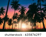 silhouette coconut palm trees... | Shutterstock . vector #635876297