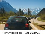 Small photo of car accumulation at the ending of garmisch highway, holiday traffic upper bavaria
