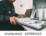smart medical doctor working... | Shutterstock . vector #635884163