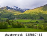 a small norwegian village in... | Shutterstock . vector #635887463