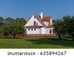 white house  cottage  with red... | Shutterstock . vector #635894267