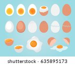 set of eggs on blue background | Shutterstock . vector #635895173