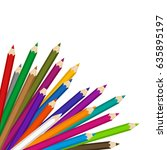 illustration of colored pencils ... | Shutterstock . vector #635895197