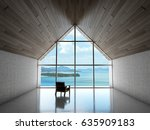 empty modern lounge area with... | Shutterstock . vector #635909183