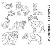 low poly line animals set.... | Shutterstock . vector #635909573