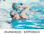 young and successful swimmers... | Shutterstock . vector #635926613