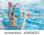 young and successful swimmers... | Shutterstock . vector #635928257