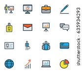 job colorful outline icons set. ... | Shutterstock .eps vector #635934293