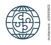 puzzle inside globe vector icon ... | Shutterstock .eps vector #635935823