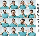 set of handsome emotional man... | Shutterstock . vector #635944817
