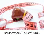 Small photo of Concept photo enlarged liver or gallbladder. Anatomical liver figure next to measuring tape. Visualization enlarge organ and bile duct in various diseases - cirrhosis, hepatitis, fibrosis, jaundice