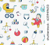 baby clothes and toys hand... | Shutterstock . vector #635949653