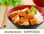 chicken curry with rice asian... | Shutterstock . vector #635952023