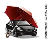 car under umbrella. expensive ... | Shutterstock .eps vector #635957183