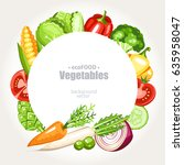 fresh healthy vegetarian... | Shutterstock .eps vector #635958047