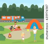 summer family picnic. travel by ... | Shutterstock . vector #635976587