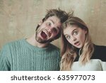 couple of friends or surprised... | Shutterstock . vector #635977073