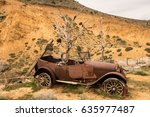 Remains Of Old Car By Quarry A...