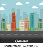 city landscape buildings icon | Shutterstock .eps vector #635985317