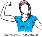 strong woman gesture vector...   Shutterstock .eps vector #635998763