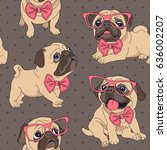 Stock vector seamless pattern with cartoon pug puppy in a glasses and in a bow tie vector illustration 636002207