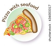 pizza with seafood. vector...