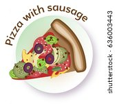 pizza with sausage. vector...