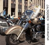 Small photo of MOSCOW, RUSSIA - MAY 06, 2017: motorcycle Kawasaki Vulcan with stickers on the glass in the parking, pr. Academician Sakharov. Motofestival 2017