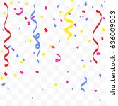 colorful confetti and ribbon... | Shutterstock .eps vector #636009053